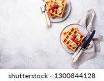 belgium waffles with...   Shutterstock . vector #1300844128
