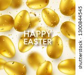 easter golden egg with confetti ... | Shutterstock .eps vector #1300844545