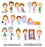 set of little toddlers in their ... | Shutterstock .eps vector #1300864528