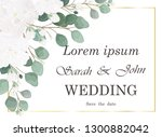 wedding invitation with rose...   Shutterstock .eps vector #1300882042