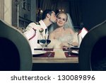 portrait of kissing bride and... | Shutterstock . vector #130089896