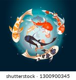 koi carps circle cover. koi... | Shutterstock .eps vector #1300900345
