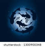 koi carps circle cover. fish... | Shutterstock .eps vector #1300900348