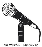 retro microphone with stand  | Shutterstock .eps vector #130093712