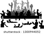 silhouettes of people with a... | Shutterstock .eps vector #1300944052