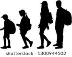 silhouette family on a walk. | Shutterstock .eps vector #1300944502