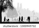 people silhouettes  urban... | Shutterstock .eps vector #1300945732