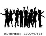 group of children's silhouettes. | Shutterstock .eps vector #1300947595