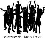 group of children's silhouettes. | Shutterstock .eps vector #1300947598