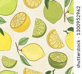 lemon and lime pattern. juicy... | Shutterstock .eps vector #1300952962