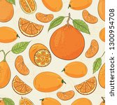 citrus pattern. mandarin and... | Shutterstock .eps vector #1300954708