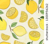 citrus pattern. lemon juicy... | Shutterstock .eps vector #1300956262