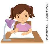 cute girl in pink make homework ... | Shutterstock .eps vector #1300959928