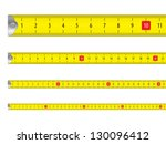 Yellow measure tape on white background. Vector illustration.