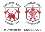 red vintage fireman pictograms... | Shutterstock .eps vector #1300967278