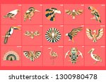 set of thin line multicolored...   Shutterstock .eps vector #1300980478