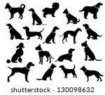 Stock vector dog silhouettes eps vector grouped for easy editing no open shapes or paths dog breeds 130098632