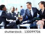 business people shaking hands ... | Shutterstock . vector #130099706