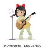 cartoon character  girl playing ... | Shutterstock .eps vector #1301037802