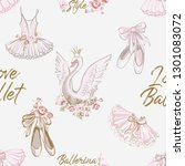ballet seamless pattern with... | Shutterstock .eps vector #1301083072