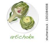 artichoke on plate vector...   Shutterstock .eps vector #1301084008