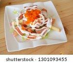 salmon salad japanese food on... | Shutterstock . vector #1301093455