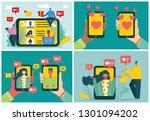 vector valentine's concept on... | Shutterstock .eps vector #1301094202