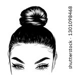 woman with stylish classic bun...   Shutterstock .eps vector #1301098468