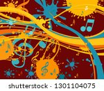 music notes on a abstract... | Shutterstock .eps vector #1301104075