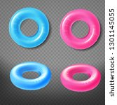 Blue And Pink Inflatable Rings...