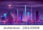 metropolis night cityscape... | Shutterstock .eps vector #1301145058