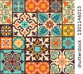 seamless colorful patchwork... | Shutterstock .eps vector #1301146015