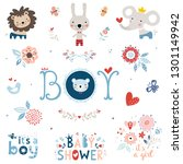 baby shower design elements and ... | Shutterstock .eps vector #1301149942
