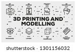3d printing and modelling line... | Shutterstock .eps vector #1301156032
