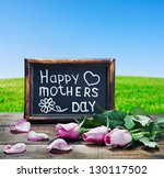 pink roses and congratulations...   Shutterstock . vector #130117502
