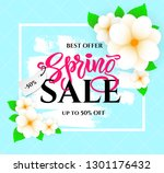 hand lettering spring sale with ... | Shutterstock .eps vector #1301176432