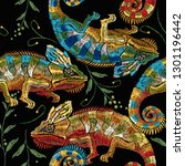 colorful chameleons and palm... | Shutterstock .eps vector #1301196442