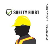 safety first text symbol with... | Shutterstock .eps vector #1301225092