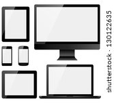 electronic devices with white... | Shutterstock .eps vector #130122635