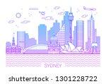 sydney city line art vector... | Shutterstock .eps vector #1301228722