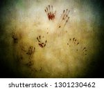 blood stain hand print on... | Shutterstock . vector #1301230462