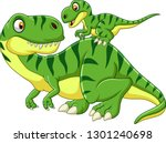 cartoon mother and baby dinosaur | Shutterstock .eps vector #1301240698