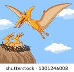 cartoon pterodactyl with her... | Shutterstock .eps vector #1301246008