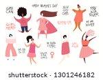 set of diverse women  quotes... | Shutterstock .eps vector #1301246182