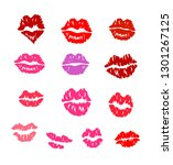 set of lip prints of a... | Shutterstock .eps vector #1301267125