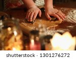 preparation of ginger biscuits... | Shutterstock . vector #1301276272