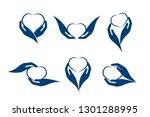 hands holding a heart set of... | Shutterstock .eps vector #1301288995