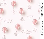 balloons with people flying on... | Shutterstock .eps vector #1301290555