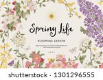 spring life. vintage vector... | Shutterstock .eps vector #1301296555