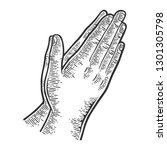 prayer hands gesture engraving... | Shutterstock .eps vector #1301305798